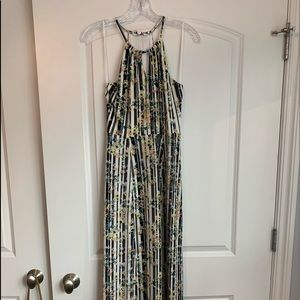 Long floral and striped halter top maxi dress